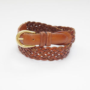 Coach Braided British Tan Woven Leather Belt